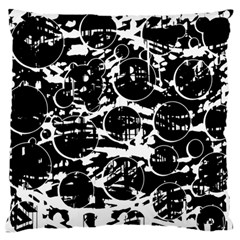 Black And White Confusion Large Cushion Case (one Side) by Valentinaart