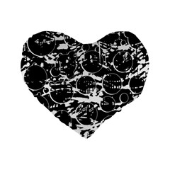 Black And White Confusion Standard 16  Premium Flano Heart Shape Cushions by Valentinaart
