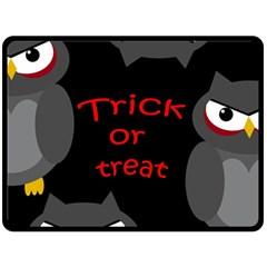 Trick Or Treat   Owls Fleece Blanket (large)  by Valentinaart
