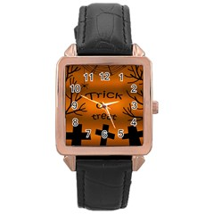 Trick Or Treat   Cemetery  Rose Gold Leather Watch  by Valentinaart