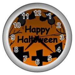 Happy Halloween   Bats On The Cemetery Wall Clocks (silver)  by Valentinaart