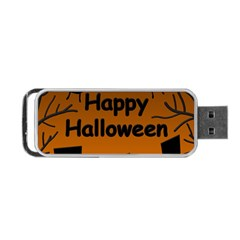 Happy Halloween   Bats On The Cemetery Portable Usb Flash (two Sides) by Valentinaart