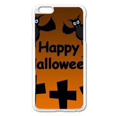 Happy Halloween   Bats On The Cemetery Apple Iphone 6 Plus/6s Plus Enamel White Case by Valentinaart