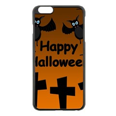 Happy Halloween   Bats On The Cemetery Apple Iphone 6 Plus/6s Plus Black Enamel Case by Valentinaart