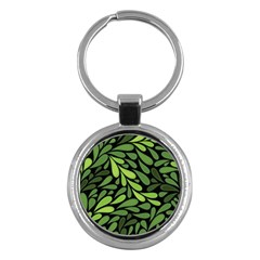 Free Green Nature Leaves Seamless Key Chains (round)  by AnjaniArt