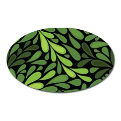 Free Green Nature Leaves Seamless Oval Magnet by AnjaniArt
