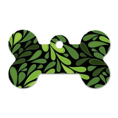 Free Green Nature Leaves Seamless Dog Tag Bone (one Side) by AnjaniArt