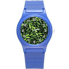 Free Green Nature Leaves Seamless Round Plastic Sport Watch (s) by AnjaniArt
