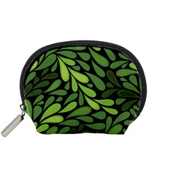 Free Green Nature Leaves Seamless Accessory Pouches (small)  by AnjaniArt