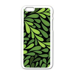 Free Green Nature Leaves Seamless Apple iPhone 6/6S White Enamel Case by AnjaniArt