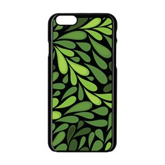 Free Green Nature Leaves Seamless Apple Iphone 6/6s Black Enamel Case by AnjaniArt