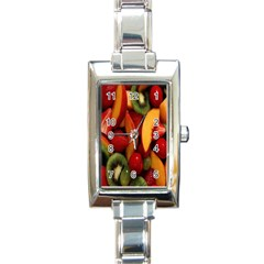 Fruit Salad Rectangle Italian Charm Watch by AnjaniArt