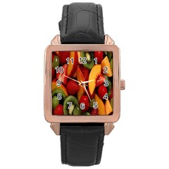 Fruit Salad Rose Gold Leather Watch  by AnjaniArt