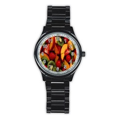 Fruit Salad Stainless Steel Round Watch by AnjaniArt