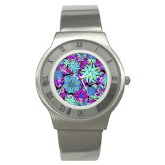 Vibrant Floral Collage Print Stainless Steel Watch by dflcprints