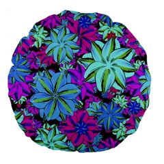 Vibrant Floral Collage Print Large 18  Premium Round Cushions by dflcprints