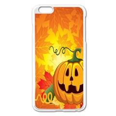 Halloween Pumpkin Apple Iphone 6 Plus/6s Plus Enamel White Case by AnjaniArt