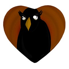 Halloween - old black rawen Heart Ornament (2 Sides) by Valentinaart