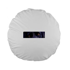 Black Lab Eyes Standard 15  Premium Flano Round Cushions by TailWags