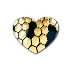 Honeycomb Yellow Rendering Ultra Rubber Coaster (heart)  by AnjaniArt