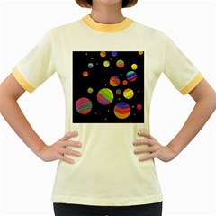 Colorful galaxy Women s Fitted Ringer T-Shirts by Valentinaart