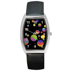 Colorful Galaxy Barrel Style Metal Watch by Valentinaart
