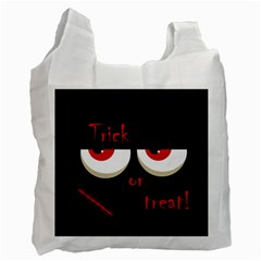 Halloween  trick Or Treat    Monsters Red Eyes Recycle Bag (two Side)  by Valentinaart