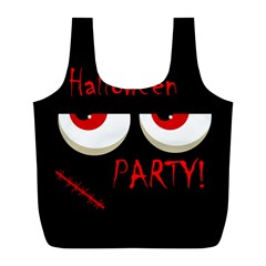 Halloween Party   Red Eyes Monster Full Print Recycle Bags (l)  by Valentinaart