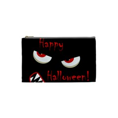 Happy Halloween   Red Eyes Monster Cosmetic Bag (small)  by Valentinaart