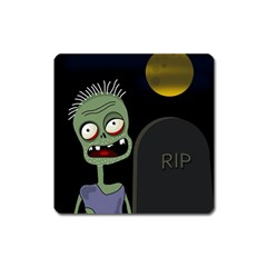 Halloween Zombie On The Cemetery Square Magnet by Valentinaart