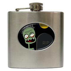 Halloween Zombie On The Cemetery Hip Flask (6 Oz) by Valentinaart