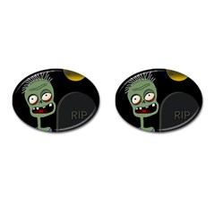 Halloween Zombie On The Cemetery Cufflinks (oval) by Valentinaart