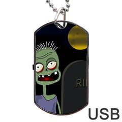Halloween zombie on the cemetery Dog Tag USB Flash (Two Sides)  by Valentinaart