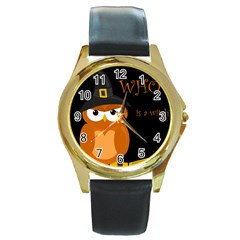 Halloween witch - orange owl Round Gold Metal Watch