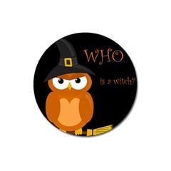 Halloween Witch   Orange Owl Magnet 3  (round) by Valentinaart