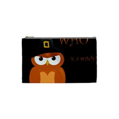 Halloween Witch   Orange Owl Cosmetic Bag (small)  by Valentinaart