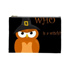 Halloween Witch   Orange Owl Cosmetic Bag (large)  by Valentinaart