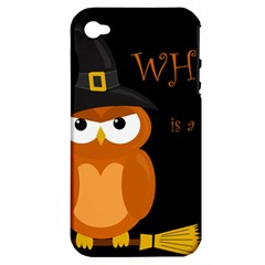 Halloween Witch   Orange Owl Apple Iphone 4/4s Hardshell Case (pc+silicone) by Valentinaart