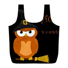 Halloween Witch   Orange Owl Full Print Recycle Bags (l)  by Valentinaart