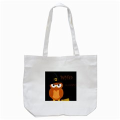 Halloween Witch   Orange Owl Tote Bag (white) by Valentinaart
