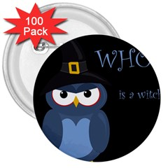 Halloween Witch   Blue Owl 3  Buttons (100 Pack)  by Valentinaart