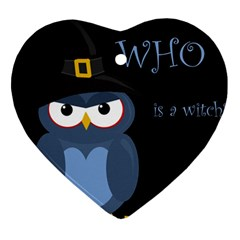 Halloween witch - blue owl Heart Ornament (2 Sides) by Valentinaart