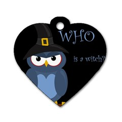 Halloween Witch   Blue Owl Dog Tag Heart (one Side) by Valentinaart