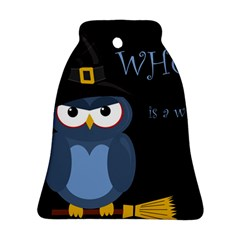 Halloween witch - blue owl Bell Ornament (2 Sides) by Valentinaart