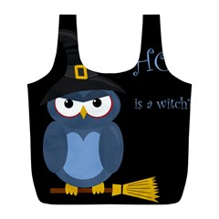 Halloween Witch   Blue Owl Full Print Recycle Bags (l)  by Valentinaart