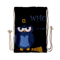 Halloween Witch   Blue Owl Drawstring Bag (small) by Valentinaart