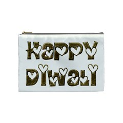 Happy Diwali Greeting Cute Hearts Typography Festival Of Lights Celebration Cosmetic Bag (medium)  by yoursparklingshop