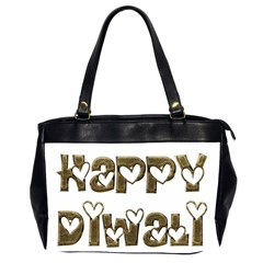 Happy Diwali Greeting Cute Hearts Typography Festival Of Lights Celebration Office Handbags (2 Sides)  by yoursparklingshop