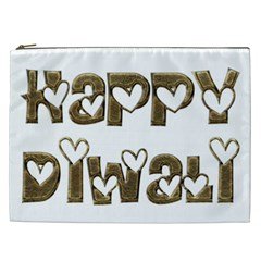 Happy Diwali Greeting Cute Hearts Typography Festival Of Lights Celebration Cosmetic Bag (xxl)  by yoursparklingshop
