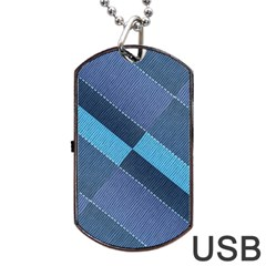 Fabric Textile Texture Blue Shades Dog Tag USB Flash (Two Sides)  by Zeze